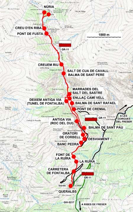 Plànol recorregut de la ruta Camí vell de Núria