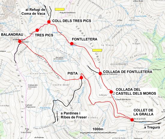 Plànol recorregut de la ruta Balandrau